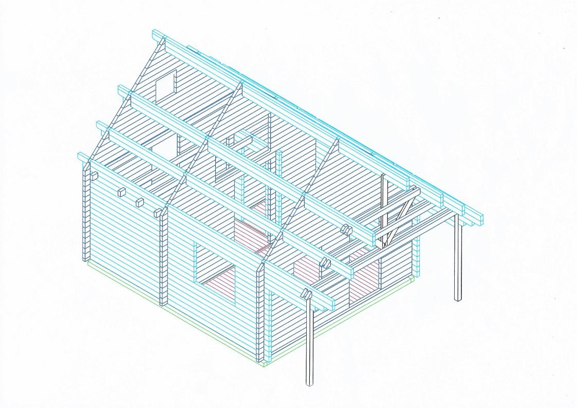 constructietekening duurzame houten blokhuizen om te huren